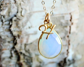 Opal Necklace, Initial Necklace, Opal Jewelry, White Opal Pendant, October Birthstone Necklace, Monogram Necklace, Personalized Jewelry Gift