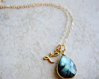 Labradorite Necklace Gold Mother's Day Gift Initial Necklace Personalized Necklace Monogram Necklace Gemstone Necklace Personalized Jewelry
