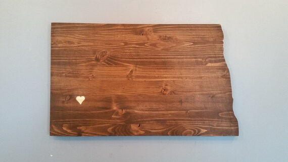 Rustic North Dakota State Sign Plaque Add A Heart To Your