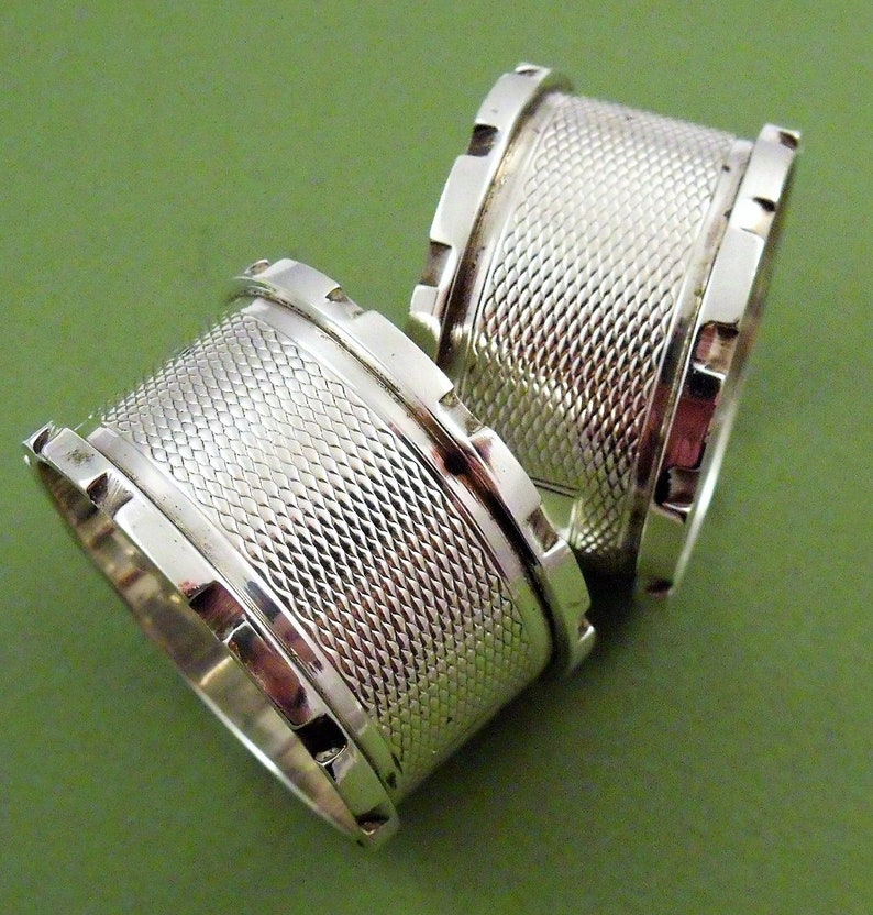 Pair Vintage Engine Turned Solid Silver Castellated Serviette Napkin Rings  1934 (9771)