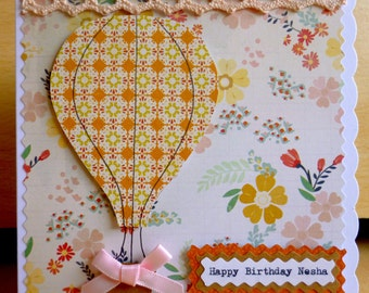 Handmade Small Hot Air Balloon Card, Personalised, For any Occasion!