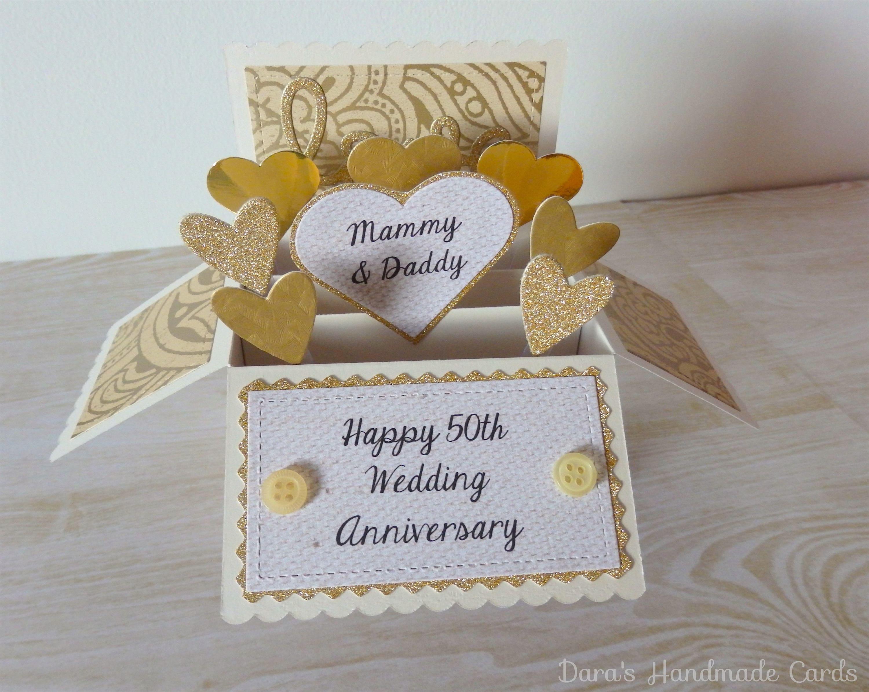 50th Wedding Anniversary Gift Ideas Gold: Handmade 50th Wedding Anniversary Gold Box Card