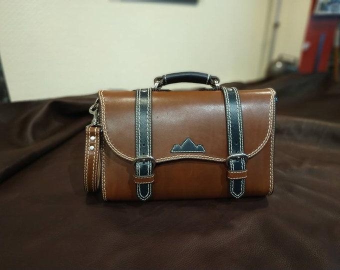 Handbag, shoulder bag, Brown and blue leather satchel style night
