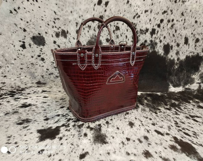 Burgundy leather tote bag print unique crocodile of course