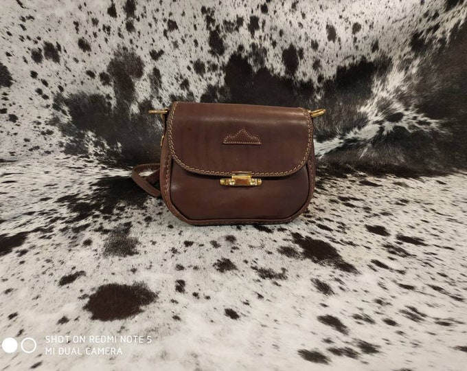 Small French brown leather shoulder bag