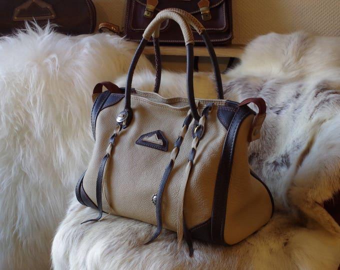 large handbag shoulder grained leather beige and black conchos western 48 hours on weekends