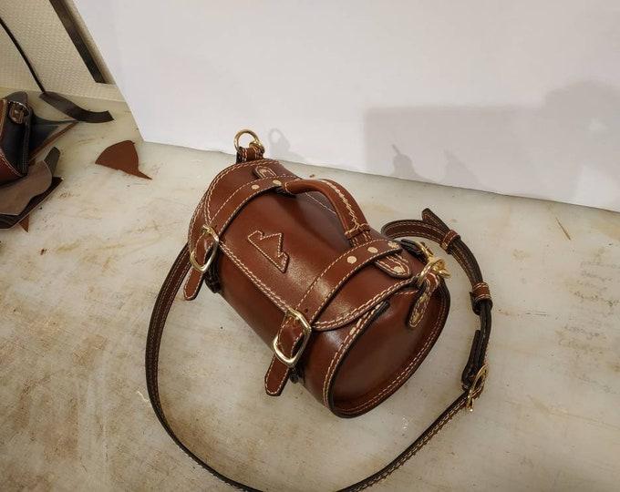 Cylinder bag, brown leather