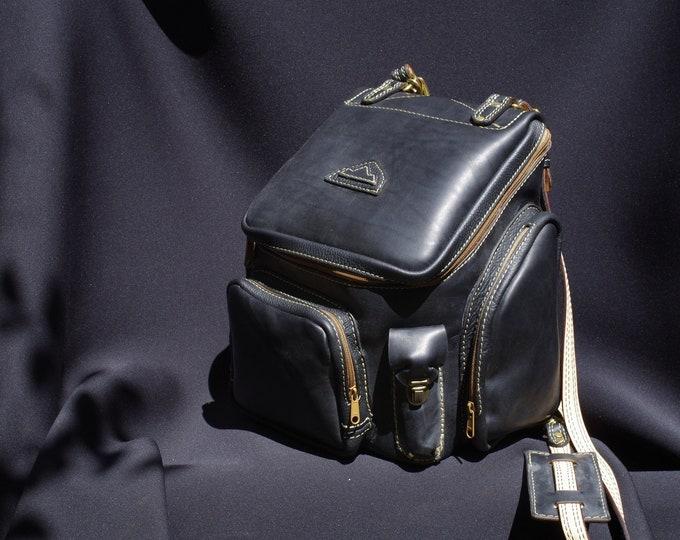handmade backpack in Black upholstery leather