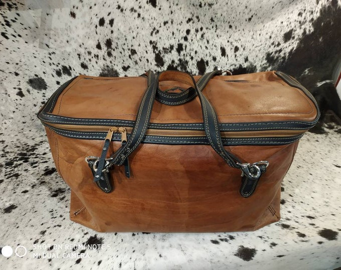 Huge blue and brown leather travel bag Navy