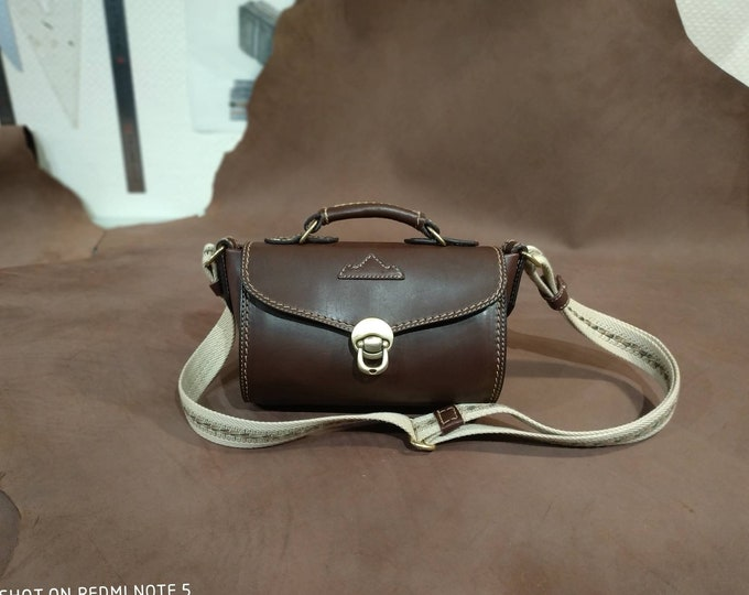 Chocolate brown leather large shoulder bag beige stitching fabric