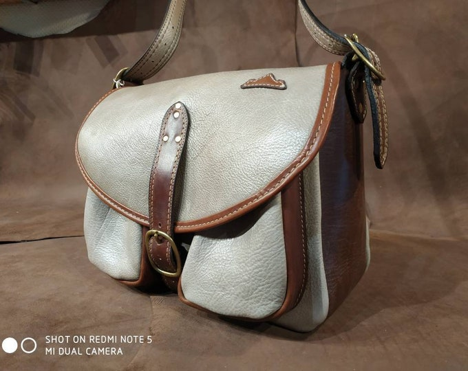 Great cross body bag, shoulder bag, gray and Brown upholstery leather flap bag