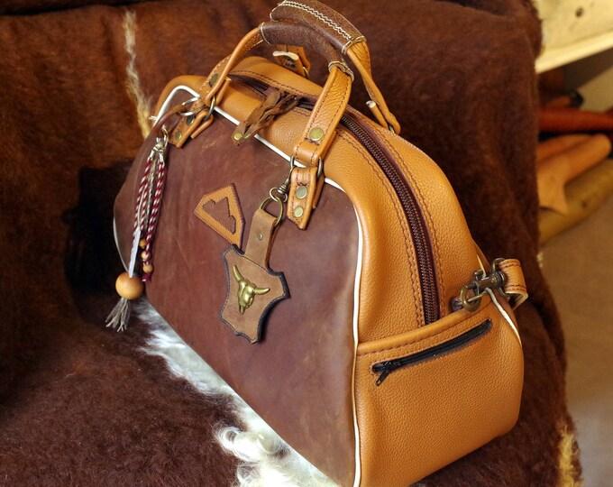 bag man woman, handmade, medium brown leather