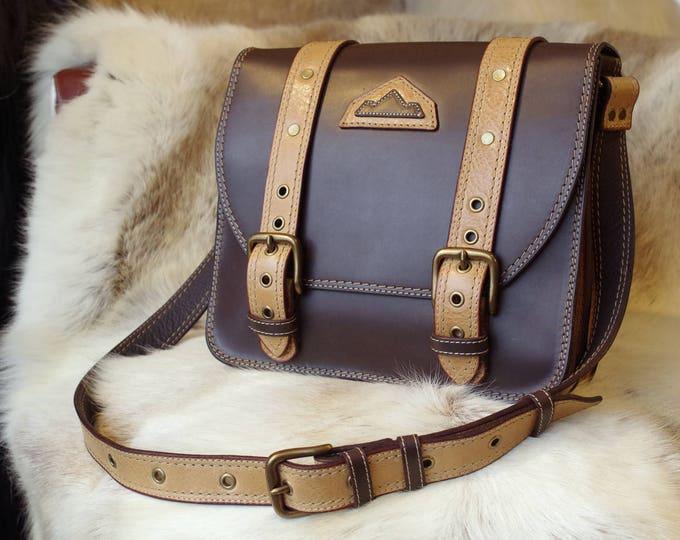 shoulder bag satchel in dark brown leather and beige