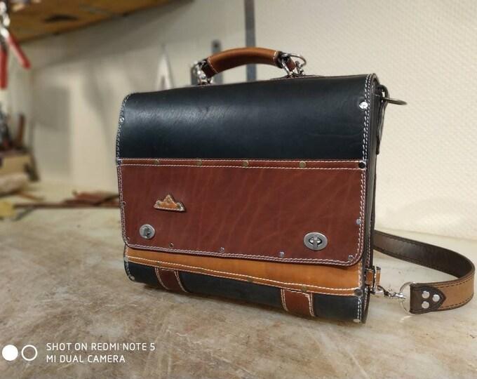 Schoolbag satchel Briefcase buff multicolor black brown gold