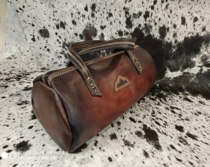 Duffel bag, sport travel, weekend brown leather