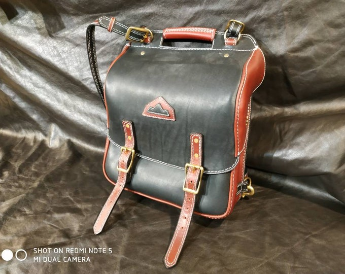 Convertible backpack, shoulder bag, satchel, briefcase in black and Red upholstery leather