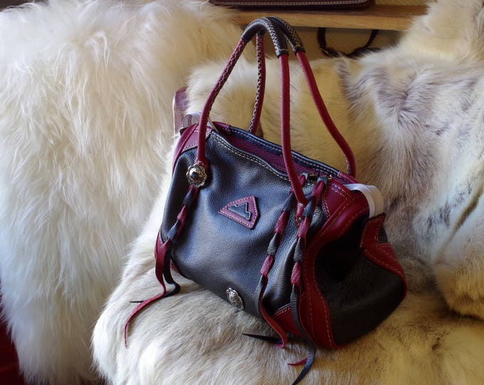 Red and black handbag leather grained unforgettable inspired western made in France