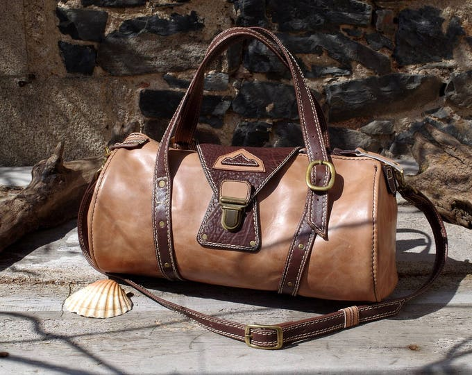 small travel bag, weekend, ocher and brown leather duffel bag