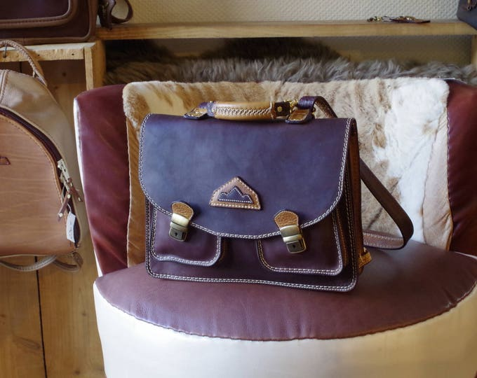 bold Brown and Tan Leather Briefcase, schoolbag