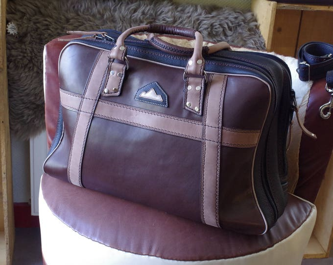 handcrafted leather suitcase soft brown black and beige