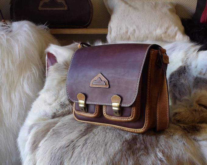 shoulder bag, satchel, shoulder bag, Messenger Leather Brown and rust man or woman