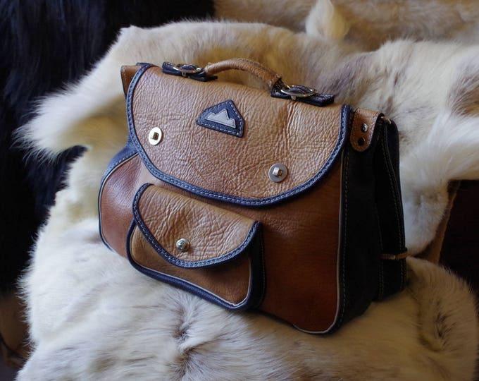 Briefcase, satchel, unusual blue and brown leather handbag
