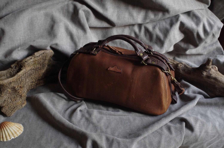 Handbag Bowling Doctor Vintage Look Brown Pull Up Leather Bag