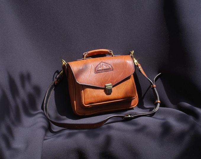 orange rust brown vintage leather shoulder bag handbag satchel,