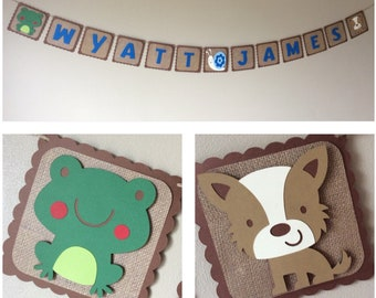 Name banner Frogs, Snails and Puppy Dog Tails inspired,Frog, Dog, Snail, Burlap paper