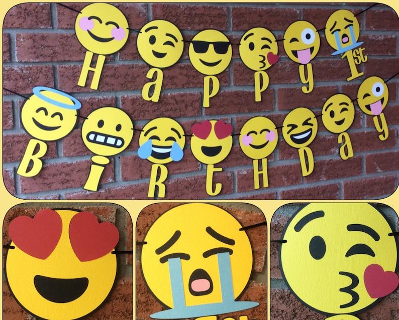 Emoji Happy 1st Birthday Banner Emojis Party