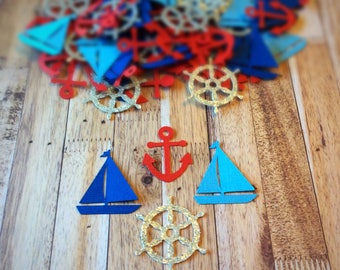 Nautical themed Confetti - table decor - table decorations - Confetti - Birthday Confetti -  Nautical Confetti - 100 Pieces - Baby shower