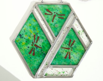 Dragonfly stained glass - Window panel - Suncatcher - Handpainted glass - Hexagon form - Colorful - Green - Unique - Ready To Ship