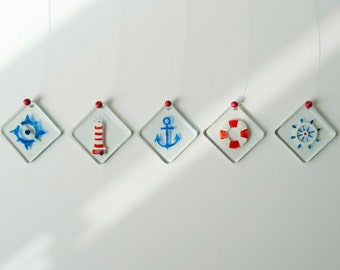 Nautical - Wind chimes - Glass - Sailor - Summer - Navy - Marine - Anchor - Lighthouse - Rudder - Float - Compass - Ready To Ship
