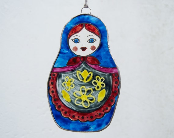 Matryoshka doll - Tiffany Stained Glass - Russian doll - Window panel - Suncatcher - Wall hanging - Hanging panel - Ready To Ship