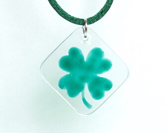 The Lucky Clover Necklace - Four leaf clover - Hand Painted Glass - Ready To Ship