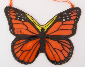 Monarch Butterfly - Free shipping - Tiffany - Stained Glass - Danaus plexippus - Window panel - Suncatcher - Wall hanging - Ready To Ship