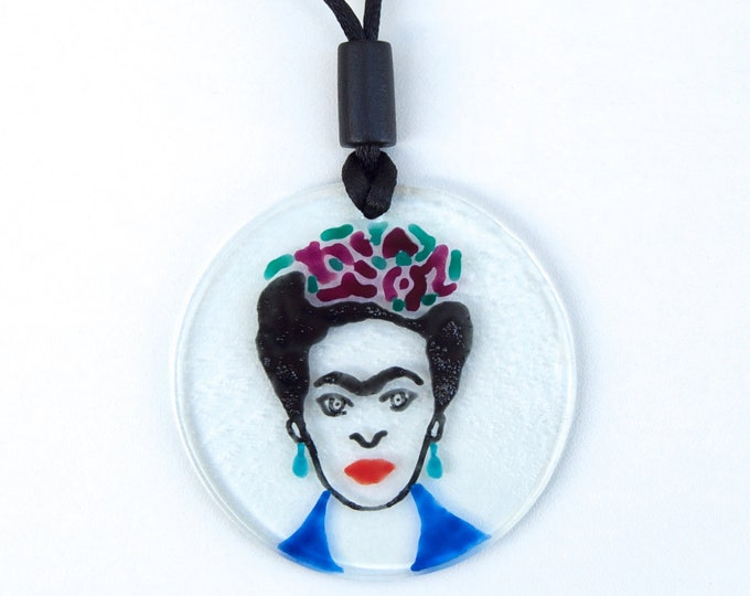 Frida Kahlo Necklace - Hand Painted Glass - Handmade in Spain - Ready To Ship