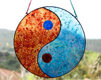 Yin Yang - Tiffany Stained Glass - Feng Shui - Taoist symbol - Window panel - Suncatcher - Wall hanging - Hanging panel - Ready To Ship
