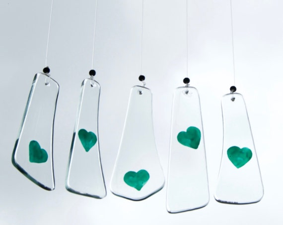 Glass green hearts wind chimes - Glass - Wind bell - Love - Handpainted glass - Valentine's Day - Lovers - Ready To Ship