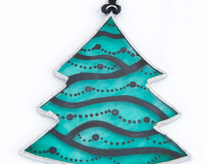 Tree. Christmas glass ornament to hang on the Christmas tree, in the window, wall or ceiling. Stained glass Tiffany. Ready to ship