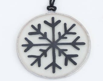 Snowflake. Christmas glass ornament to hang on the Christmas tree, in the window, wall or ceiling. Stained glass Tiffany. Ready to ship