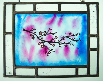 Almond in blossom Stained Glass - Window panel - Suncatcher - Flowers - Purple, brown, transparent - Handpainted glass - Ready To Ship