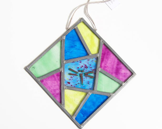Dragonfly stained glass - Window panel - Suncatcher - Handpainted glass - Rhombus form - Colorful - Unique - Ready To Ship