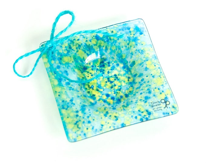 Ring dish - Jewellery dish - Wedding ring dish - Hand painted glass - Ready To Ship