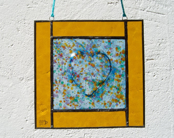 Heart Tiffany Glass - Heart in relief - Window panel - Suncatcher - Wall hanging - Hanging panel - Home decor - Ready To Ship
