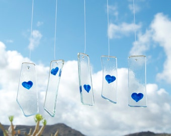 Glass blue hearts wind chimes - Glass - Wind bell - Love - Handpainted glass - Valentine's Day - Lovers - Ready To Ship