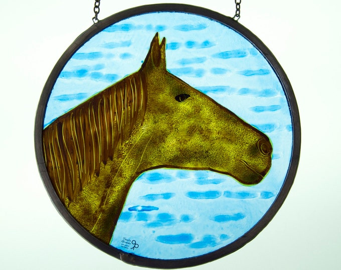 Horse Stained Glass - Horse lovers - Window panel - Suncatcher - Round form - Blue, brown - Hand painted glass - Ready To Ship