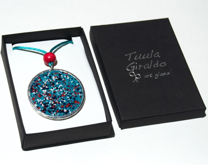 Drops necklace - Hand painted glass - Diameter 5cm - Long adjustable cord - Ready To Ship