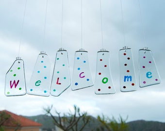 Welcome Sign Wind Chimes - Glass - Housewarming - Welcome Home - Polka dots - Wind bell - Handpainted - Wall hanging - Ready To Ship