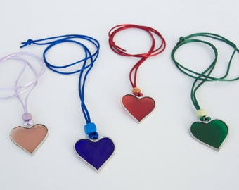 Heart glass necklace - Various colors - Valentine's Day - Friendship Day - Anniversary - Ready To Ship